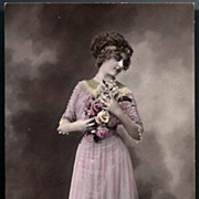 Vintage Post Card RPPC Tinted Edwardian Lady with Headband and Flowers
