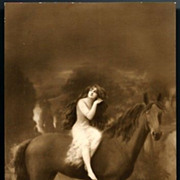 Vintage Post Card RPPC Lady, Long Hair with Horse