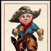Vintage Post Card Artist Signed Western Cowboy with Hat and Pistol