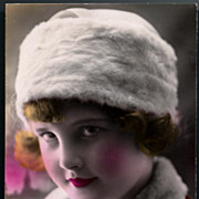 Vintage Post Card RPPC Tinted Deco Girl in Fur Hat and Collar