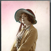 Vintage Post Card RPPC Tinted Deco Lady in Hat with Umbrella