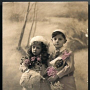 Vintage Post Card RPPC Tinted Edwardian Girl and Boy