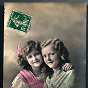 Vintage Post Card RPPC Tinted Edwardian Girls in Pink and Blue
