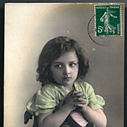 Vintage Post Card RPPC Tinted Edwardian Girl in Prayer