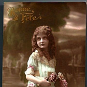 Vintage Post Card Tinted Edwardian Girl with Curls and Flowers