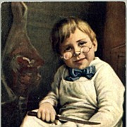 "REDUCED Vintage Post Card ""Little Butcher Boy"""