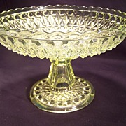 SALE Vaseline Cut Glass  Compote