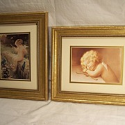 SALE Pair of Framed Cupid Prints