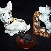 SALE Collection of 3 Scottie Dogs--Bookend--Paperweight--Planter