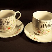 SALE Mother--Father Cups and Saucers--Handpainted--Gold lettering