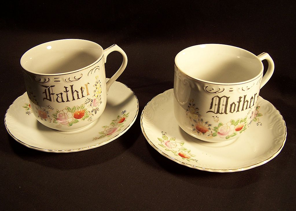 Mother--Father Cups and Saucers--Handpainted--Gold lettering