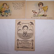 SALE Three Vintage Romantic-Childrens-Comical Kids Postcards