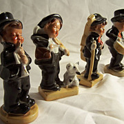 SALE Four Piece Minstrel Band Figurines--Music-Fiddle-Drum