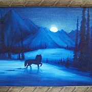 "SALE Watercolor painting.... ""Lone Wolf"".....by Navajo artist"
