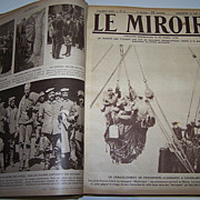 REDUCED Le Mirror 1915-1916-- Leather bound volume of WW1 photos-Book-France