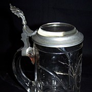 SALE Glass Stein with Pewter and Crystal Glass top