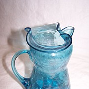 SALE Handblown Blue Crackle Glass Pitcher