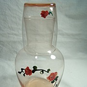 SALE Hand Painted Pink Glass Bedside Water Carafe & Tumbler