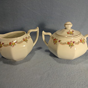 SALE Bavarian Sugar Bowl and Creamer--Gold Gilt accents--Handpainted