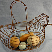 Copper Wire Egg Basket--Chicken--Wooden Eggs
