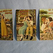 SALE Three Vintage Romantic Postcards--Gelatin coated