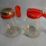 SALE Red Top Glass Syrup Pitcher & Nut Grinder