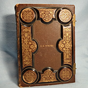 SALE Vintage Photo Album, Gold Gilt Embossed leather, unused