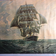 SALE Vintage Framed Print-Clipper Ship-by G.G. Reynaud