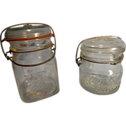 SALE Vintage Atlas 'Goodluck' Pint and Foster Sealfast 1/2 Pint Canning Jars