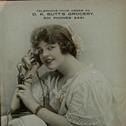Photograph Advertising Girl on Candlestick Telephone