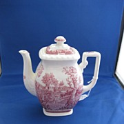 Red & White Transfer ware Tea Pot
