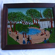 Folk Art Country Scene Reverse Painting