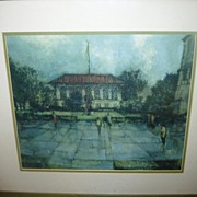 "SALE Vintage UT University of Texas Framed Print ""Old Library"""