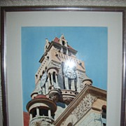 "SALE Herb Rather Watercolor on Paper ""Courthouse Tower"""