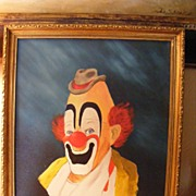 SALE Clown Portrait dated 1983 Oil on Canvas (3 of 3)
