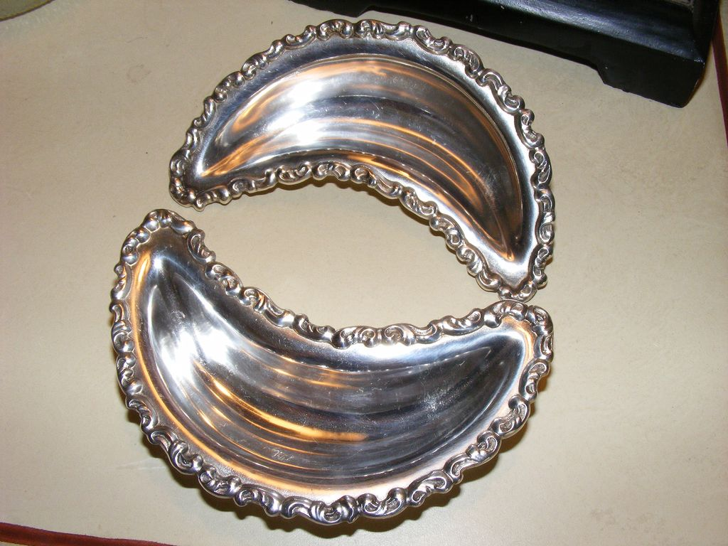 Antique Adelphia Silver Co. Bone Dishes - pair