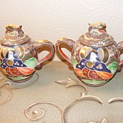 SALE Morimura Brothers (Noritake) Hand Painted Satsuma Tea Pot and Sugar