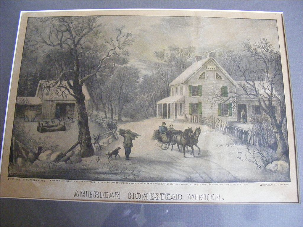 Antique 1868 Currier & Ives Hand Colored Lithograph &quot;American Homestead Winter&quot;