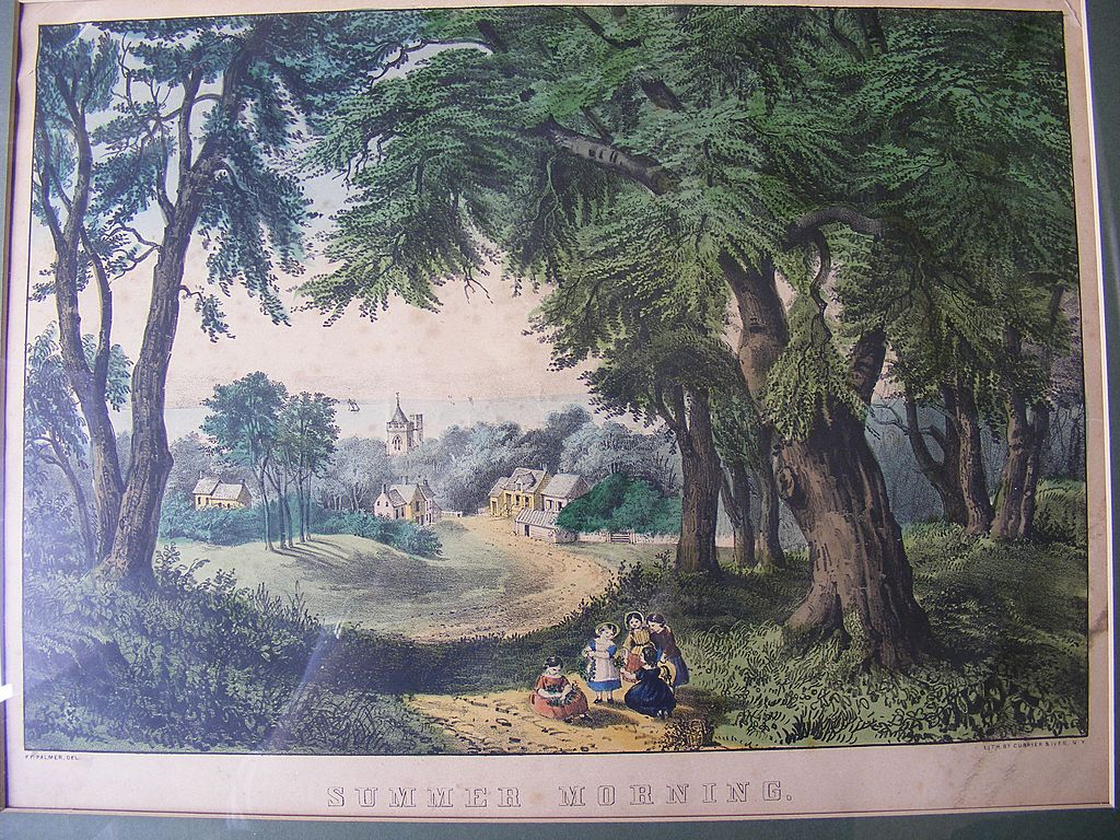Antique Currier & Ives Lithograph &quot;Summer Morning&quot;