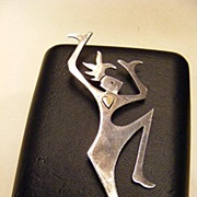 Vintage Dancing Woman Sterling Pin