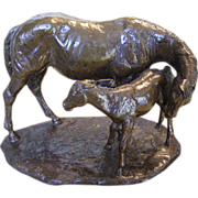 Jim Reno &quot;Mother and Foal&quot; Bronze Sculpture