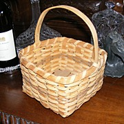 SALE Hand Made Signed Oak Basket by Donnie Ellison 1985