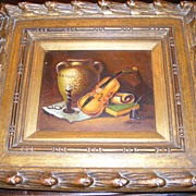 SALE Original Frank Lean Oil Painting Violin