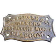 Antique Brass Machinery Plaque from Drysdale & Co Glasgow