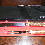 Vintage Antler Handle Hoffritz Carving Set