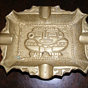 Vintage 1920's solid brass ashtray from Mexico