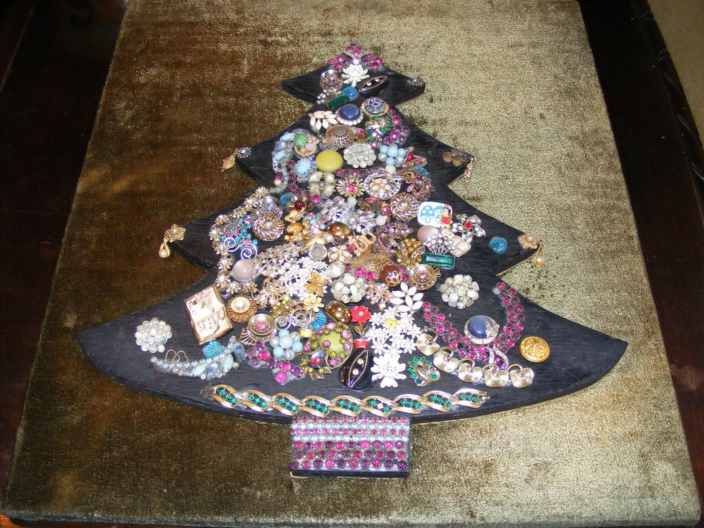 Vintage Costume Jewelry Christmas Tree Collage