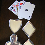 Set of 4 Taxco Sterling &quot;Playing Card&quot; Nut Dishes