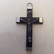 SALE Antique Ebony Rosary Pendant Crucifix