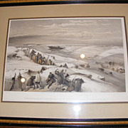 Antique Military Print - 1855 - Sebastobol from the 26 gun battery on the extreme right of ...